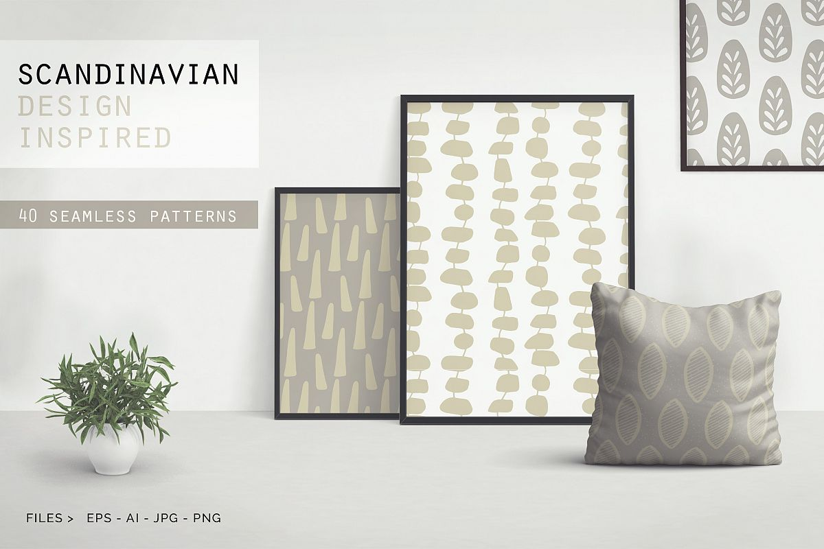 Scandinavian Patterns set of 40 example image 1