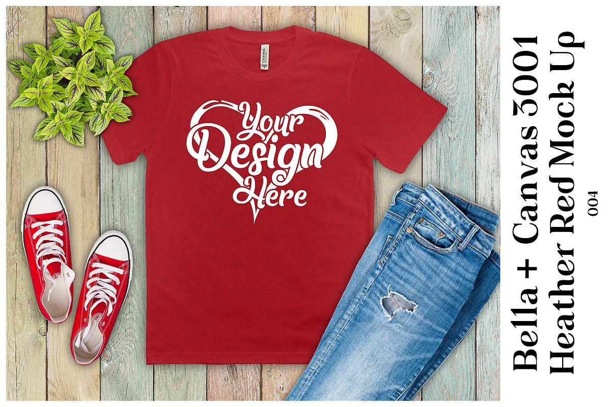 Mens T-Shirt Mockup Heather Red Bella Canvas 3001 Mock up example image 1