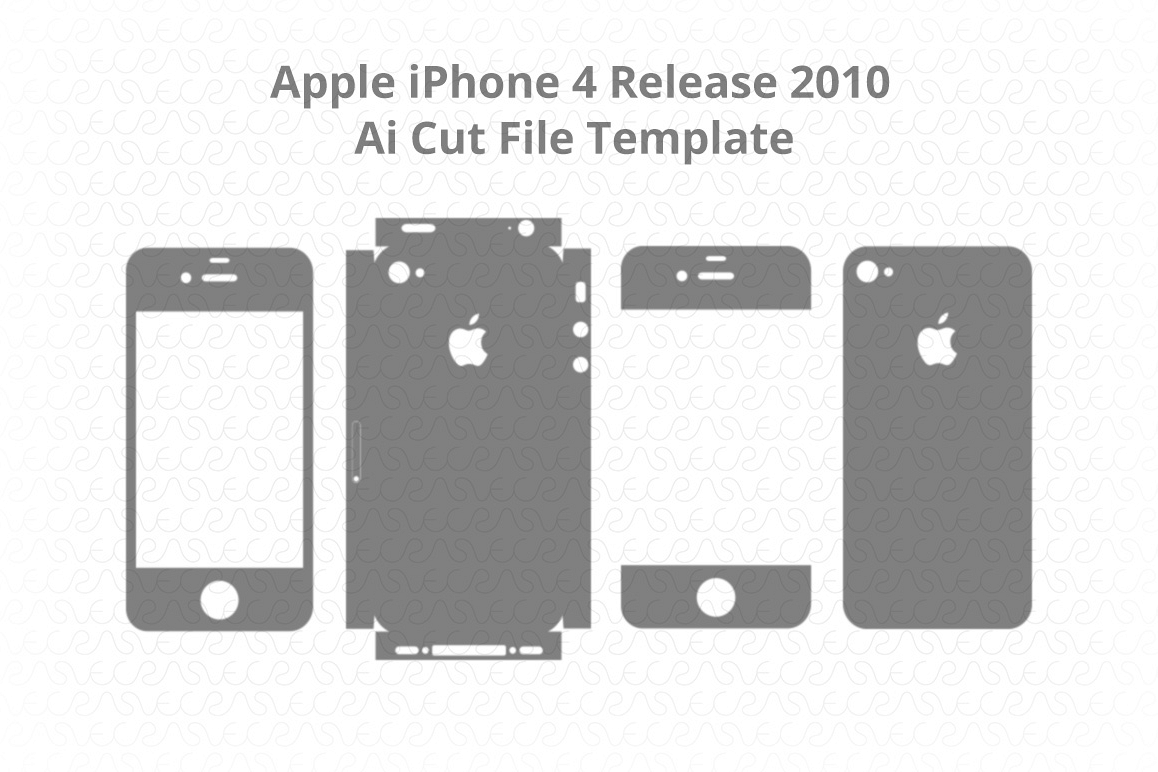 Apple iPhone 4 Vinyl Skin Vector Cut File Template 2010