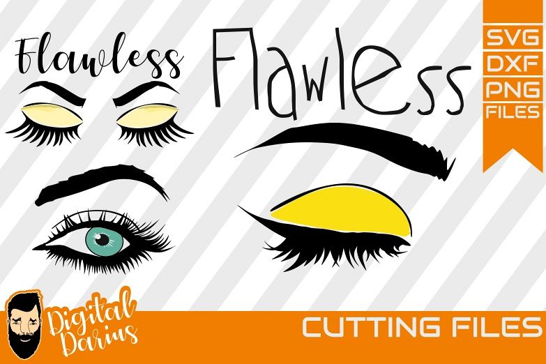 3x Flawless svg, Mascara svg, Eyelashes svg, Vector, Cricut example image 1