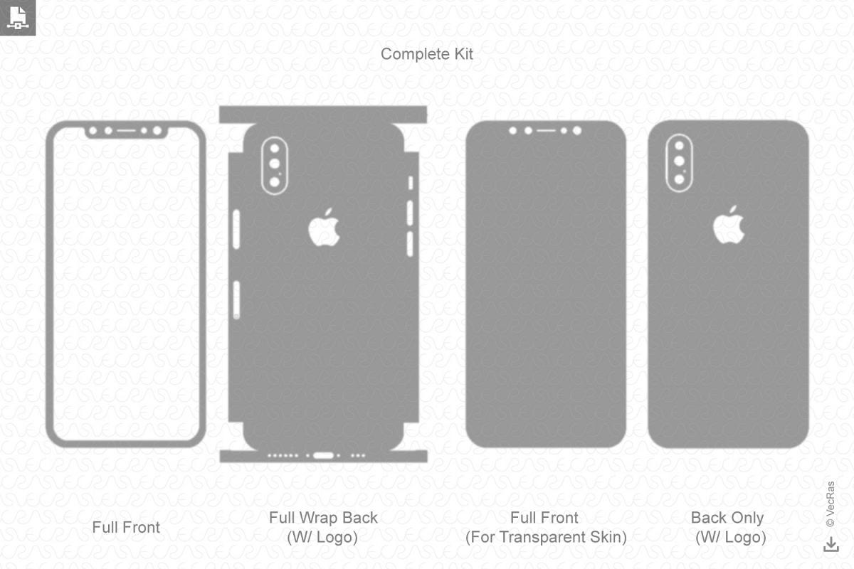 Apple Iphone Xs Vinyl Skin Vector Cut File Template 2018