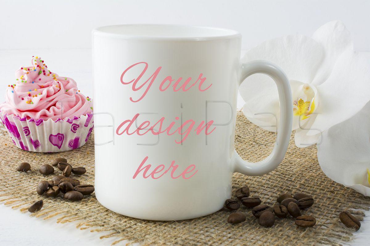 Coffee mug mockup with muffin example image 1
