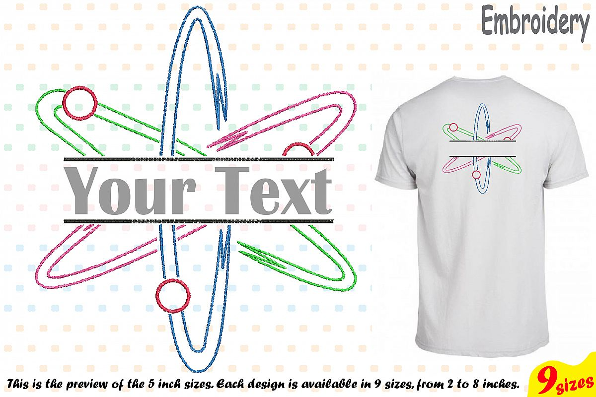 Split Atom Science Designs for Embroidery Machine Instant Download Commercial Use digital file hoop sign Nuclear Fission outline 192b example image 1
