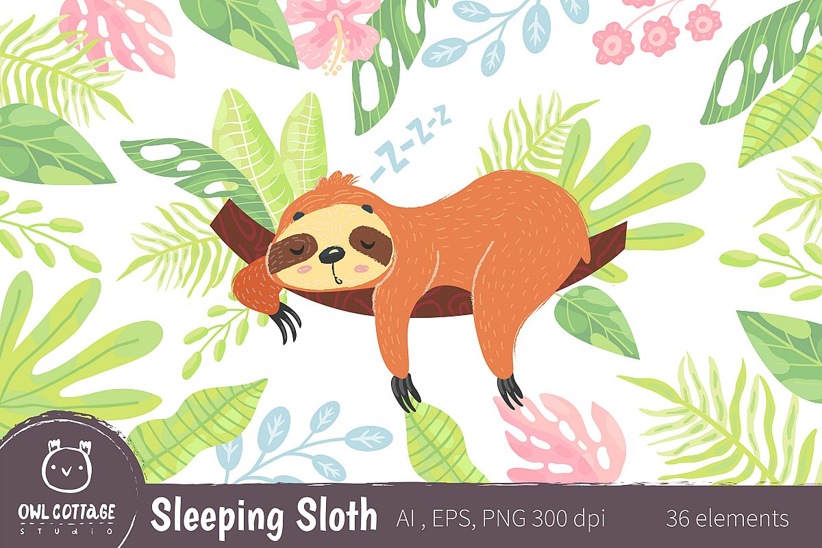 Sleepy Sloth Clipart Collection, Vector and Png example image 1