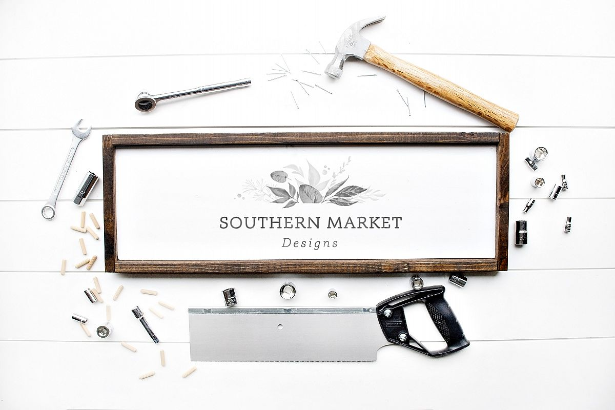 8x24 Wood Framed Sign Mock Up Tool Styled Photography example image 1