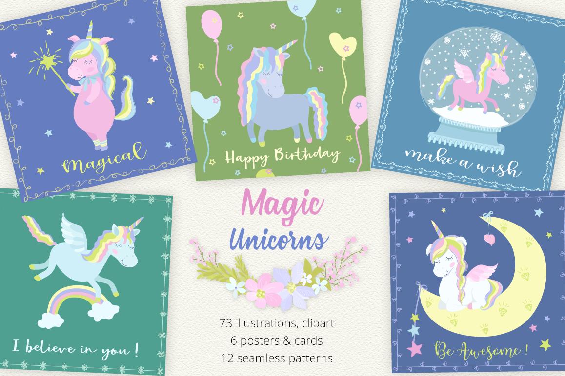 Magic Unicorns Illustration Set example image 1