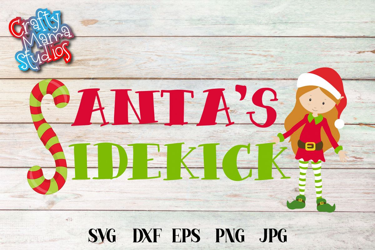 Santa's Sidekick, SVG Elf SVG, Baby's First Christmas SVG example image 1