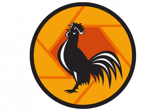 Rooster Crowing Shutter Circle Retro example image 1