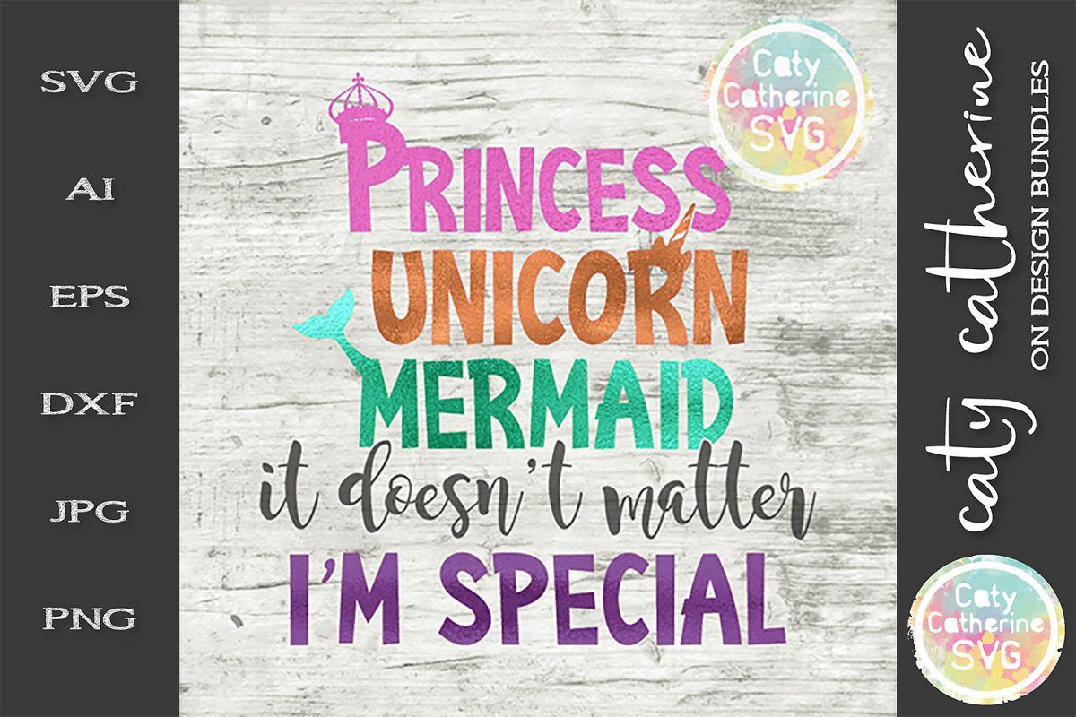 Princess Unicorn Mermaid It Doesn't Matter I'm Special SVG example image 1