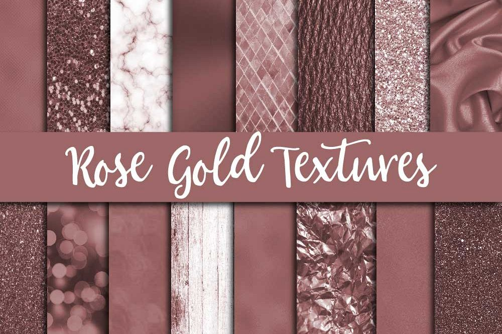 Rose Gold Textures Digital Paper example image 1