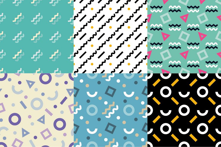 Set of 6  Memphis seamless pattern. Geometric seamless pattern in 80s style.  example image 1
