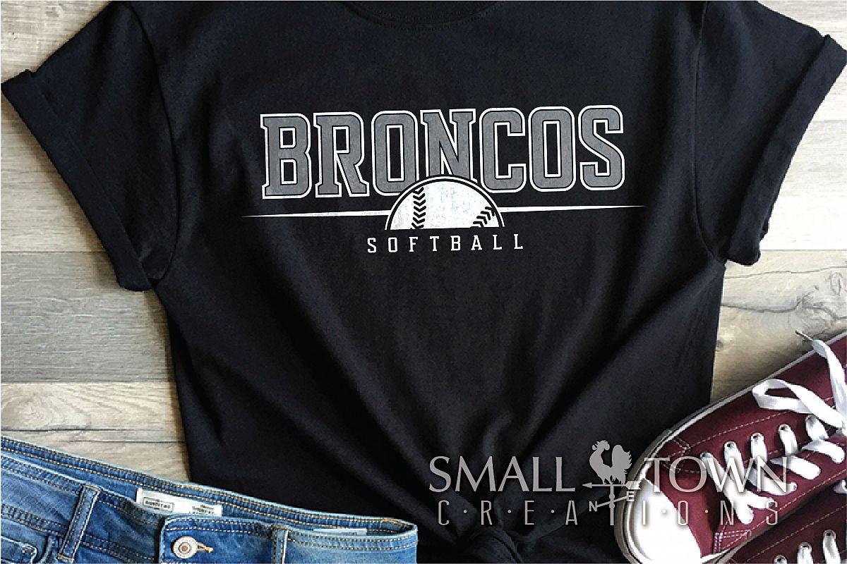 Bronco Softball, Logo, Team, Sports, PRINT, CUT & DESIGN example image 1