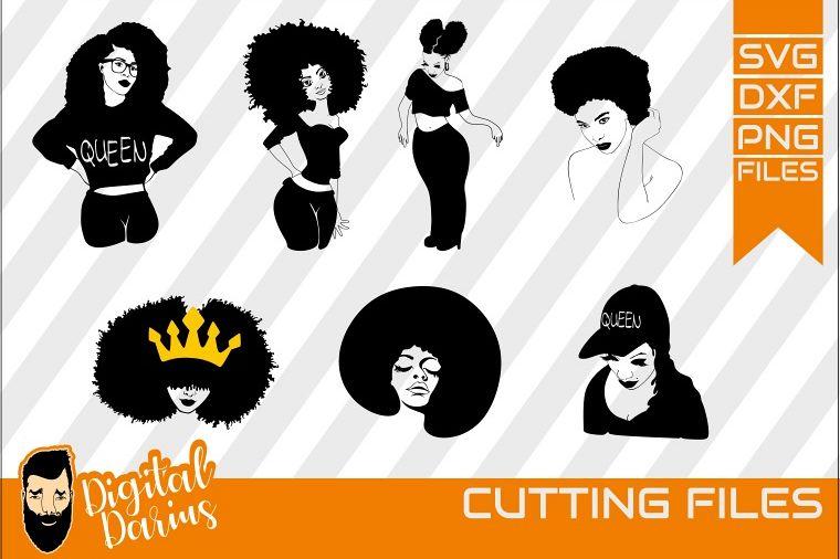 Download 7x Black Woman Bundle SVG, afro lady svg, Africa, Queen svg