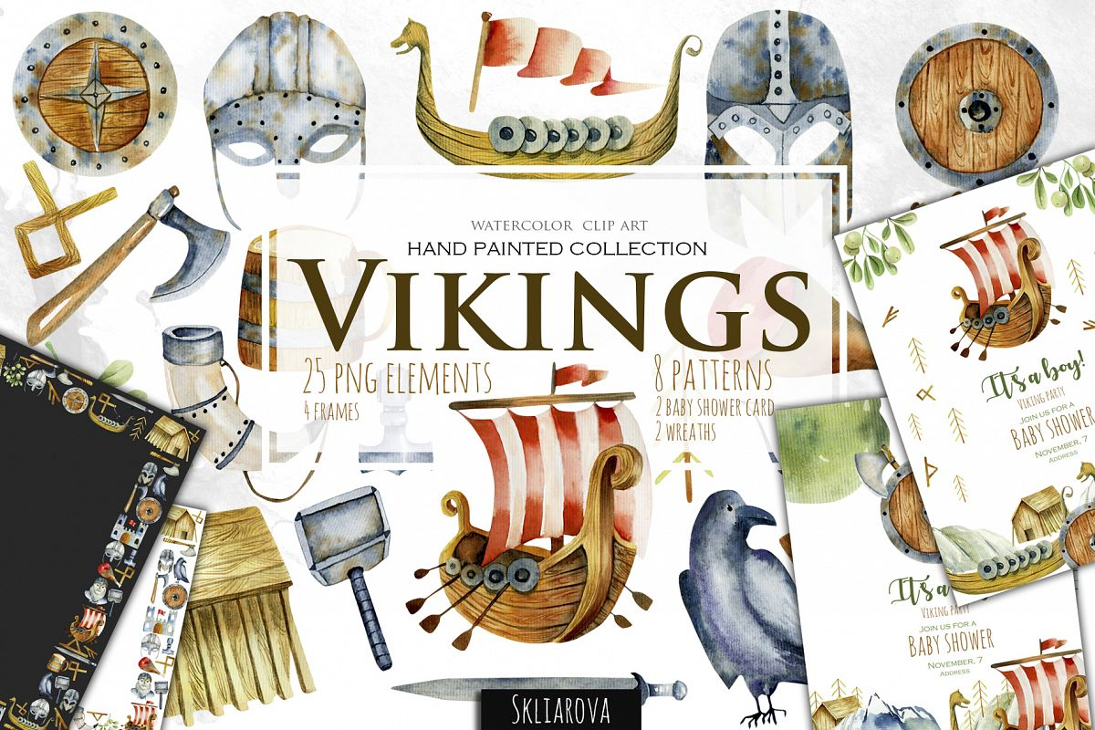 Vikings. Watercolor clip art. example image 1