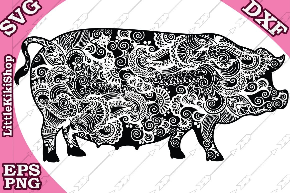 Zentangle Pig Svg,Mandala Pig Svg,Farm animal Svg,Pig Svg example image 1
