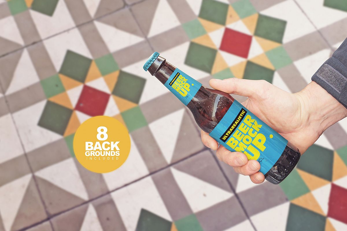 Get Beer Bottle Mockup example image 1