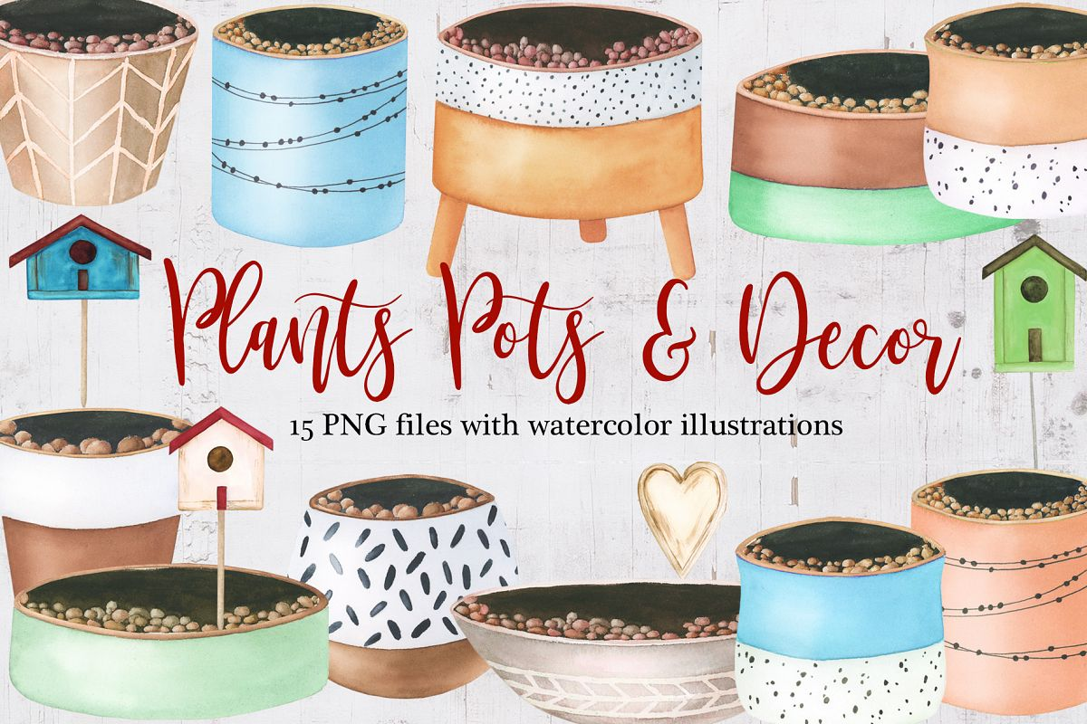 Watercolor Plants pots and decor clipart example image 1