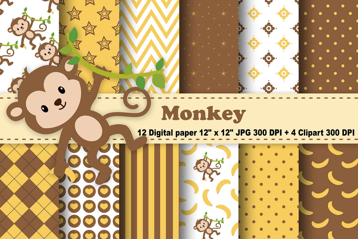 Monkey Digital Paper, Animals Background, Banana Pattern, Jungle Scrapbooking Papers, Safari Background, Zoo Pattern, Printables, Monkey Clipart. example image 1