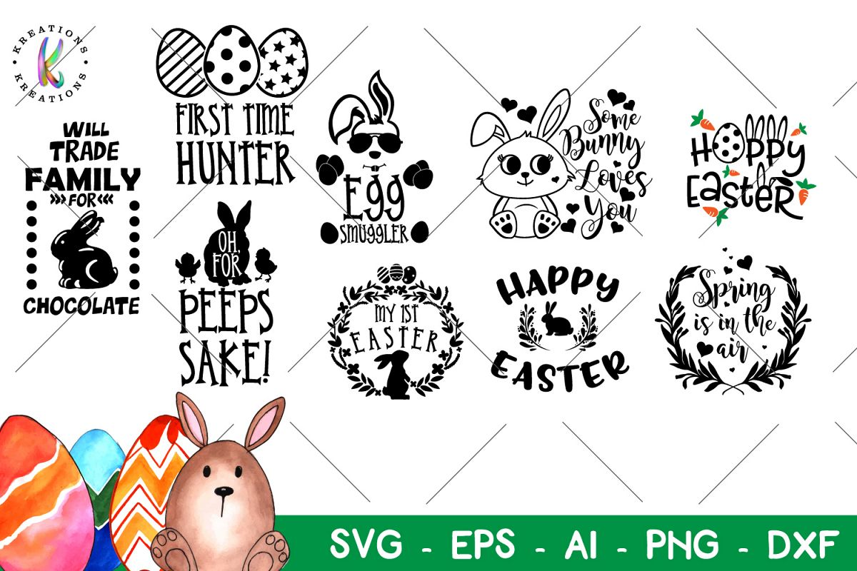 Easter bundle svg Happy Easter svg Easter Pack example image 1