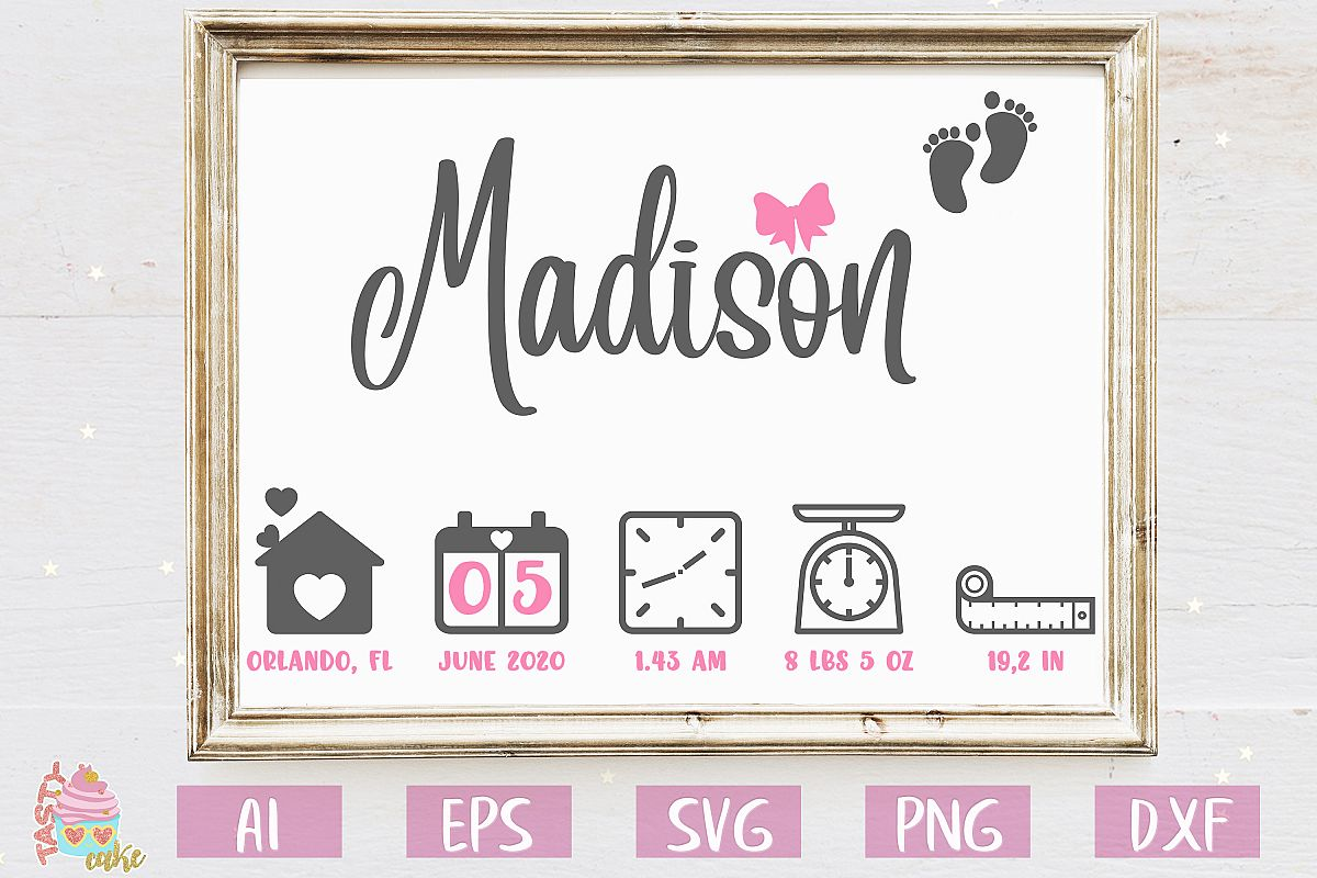 Baby Birth Stats SVG - Birth Announcement Template example image 1