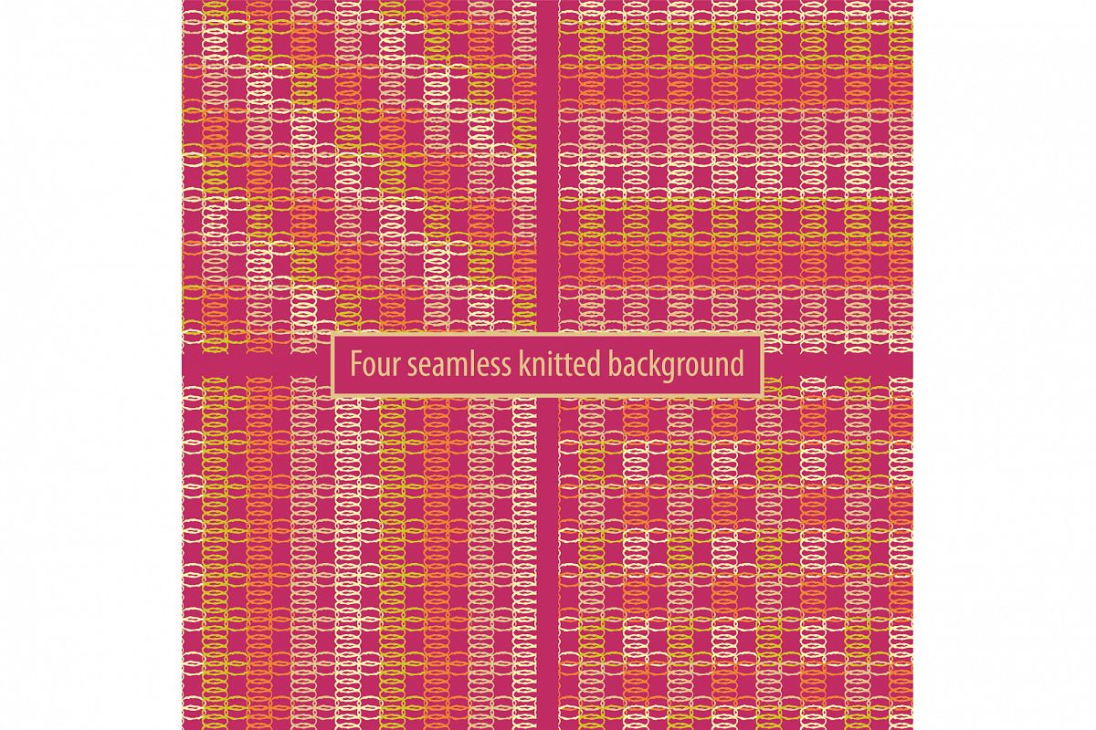 Set of four seamless knitted backgrounds.  example image 1