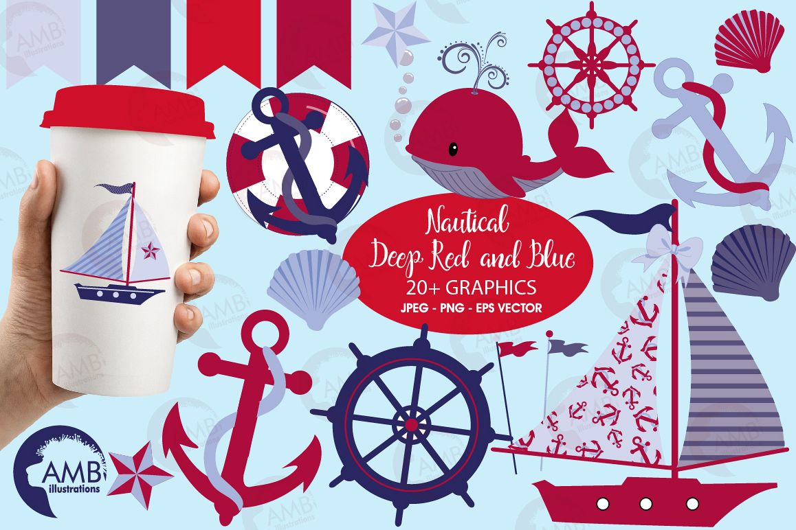 Nautical Whales clipart, graphics, illustrations AMB-521 example image 1