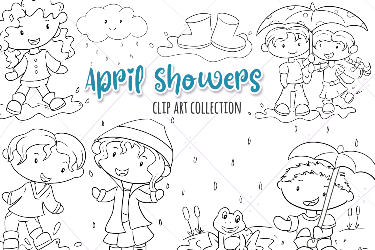April Showers Digital Stamps example image 1