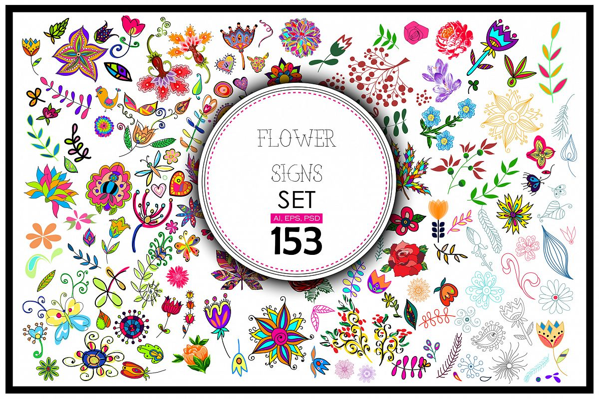 153 Vector floral signs set + BONUS. example image 1