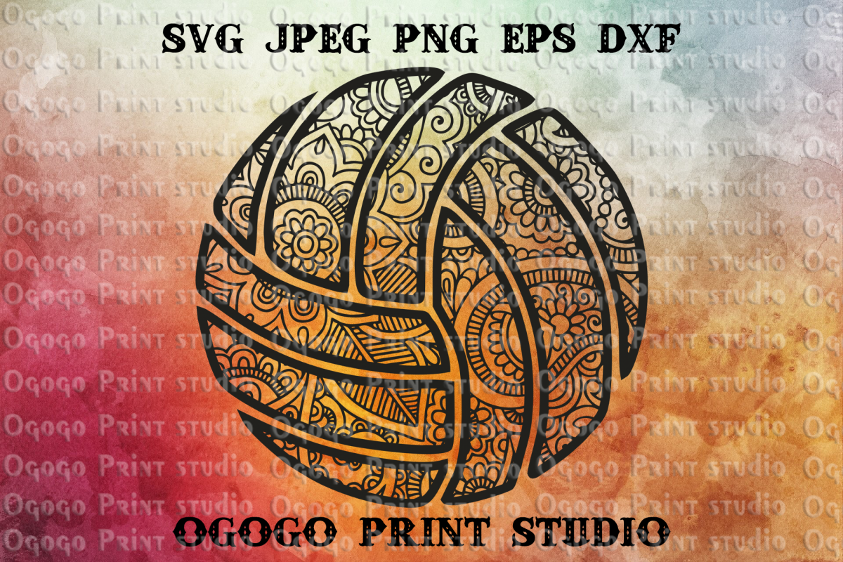 Volleyball Svg, Mandala svg, Zentangle SVG, Sport Svg example image 1
