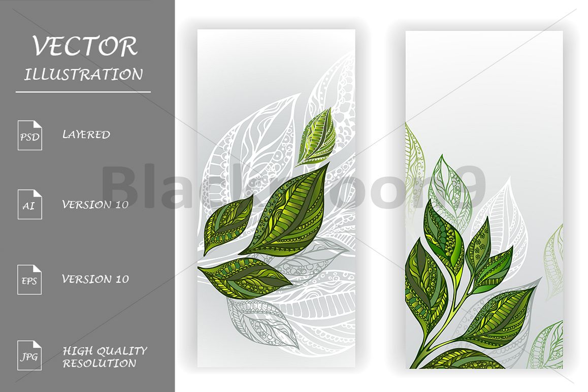 Two Banners with Patterned Leaves of Tea example image 1