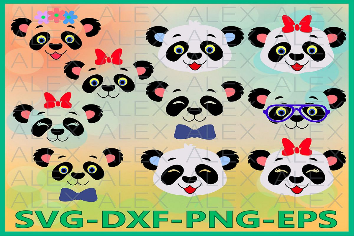 Panda Face Svg, Girls Face svg, Panda with a bow, Animal png example image 1