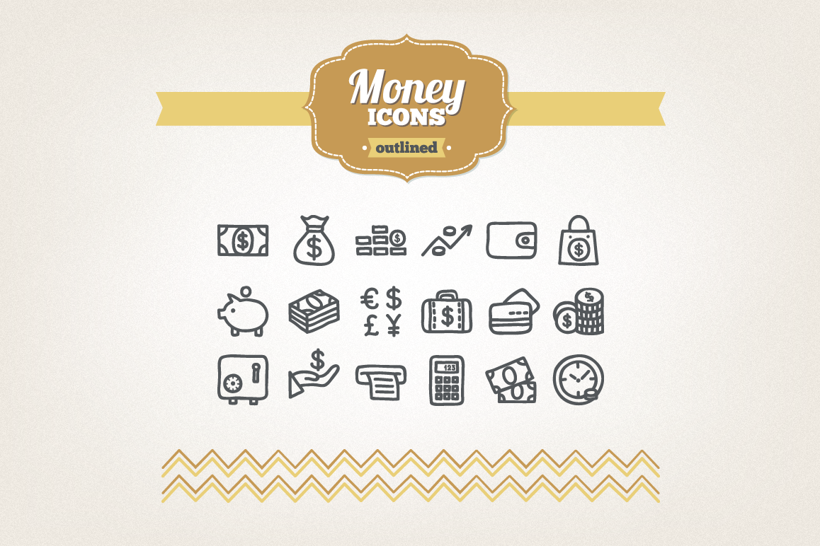 Hand Drawn Money Icons example image 1