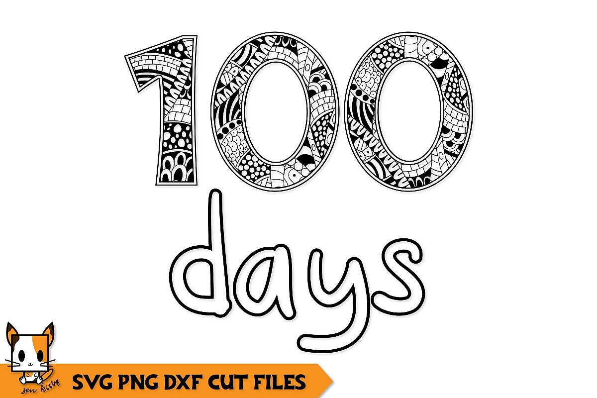100 Days of School - Coloring Shirt Zentangle SVG PNG DXG example image 1