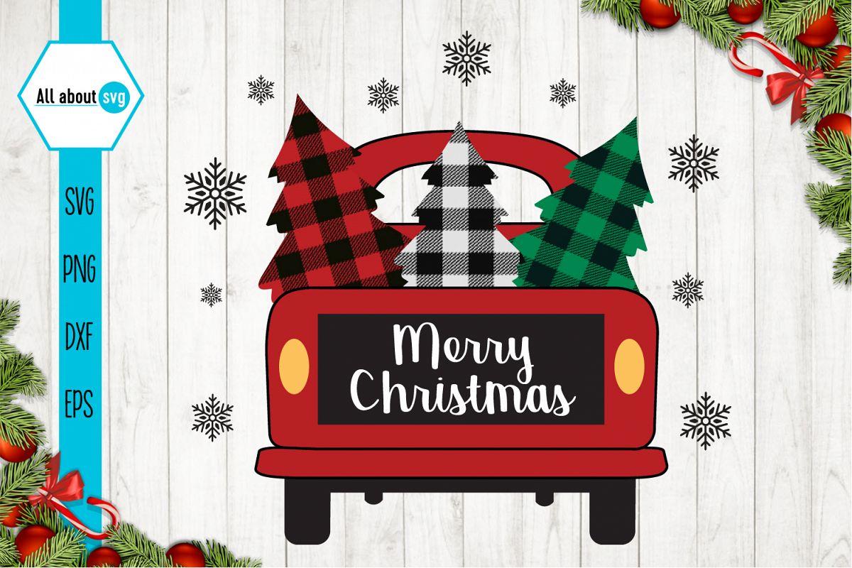 Merry Christmas Truck Buffalo Plaid Svg example image 1
