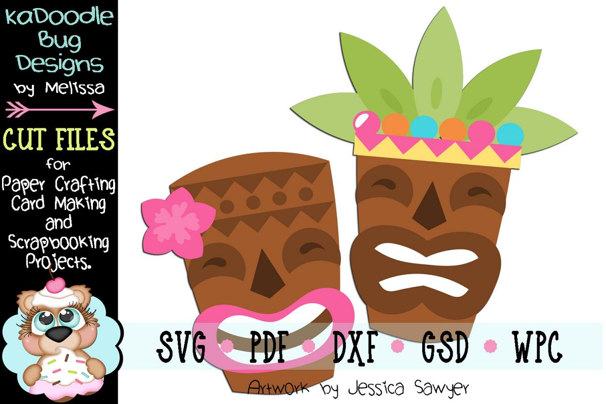Hawaiian Luau Tiki Masks Cut File - SVG PDF DXF GSD WPC example image 1