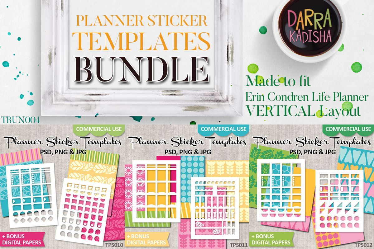 graphic relating to Diy Planner Templates titled Do it yourself Planner Stickers - Electronic Templates Package deal Vol. 4