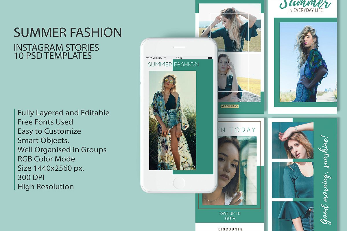 10 Summer Fashion Sales Insta-Story PSD Templates example image 1