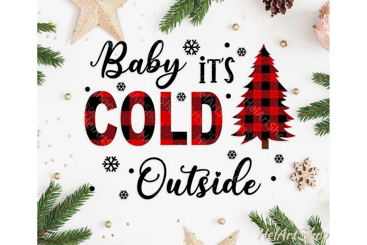 Baby It's cold Outside Svg, Buffalo plaid svg, Joy Plaid svg example image 1