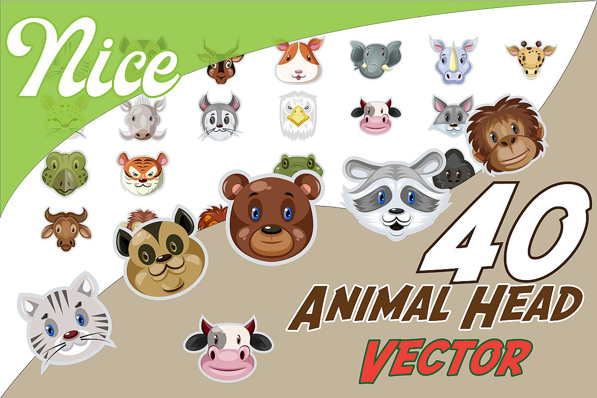 40x CUTE animal head stickers designs! example image 1