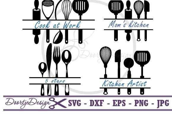 Kitchen Split Monogram Bundle SVG example image 1