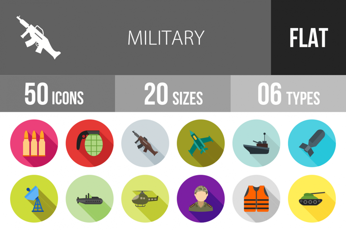 50 Military Flat Long Shadow Icons example image 1