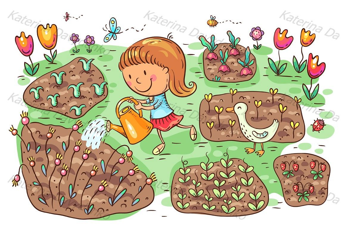 Child watering flowers and vegetables in the garden example image 1