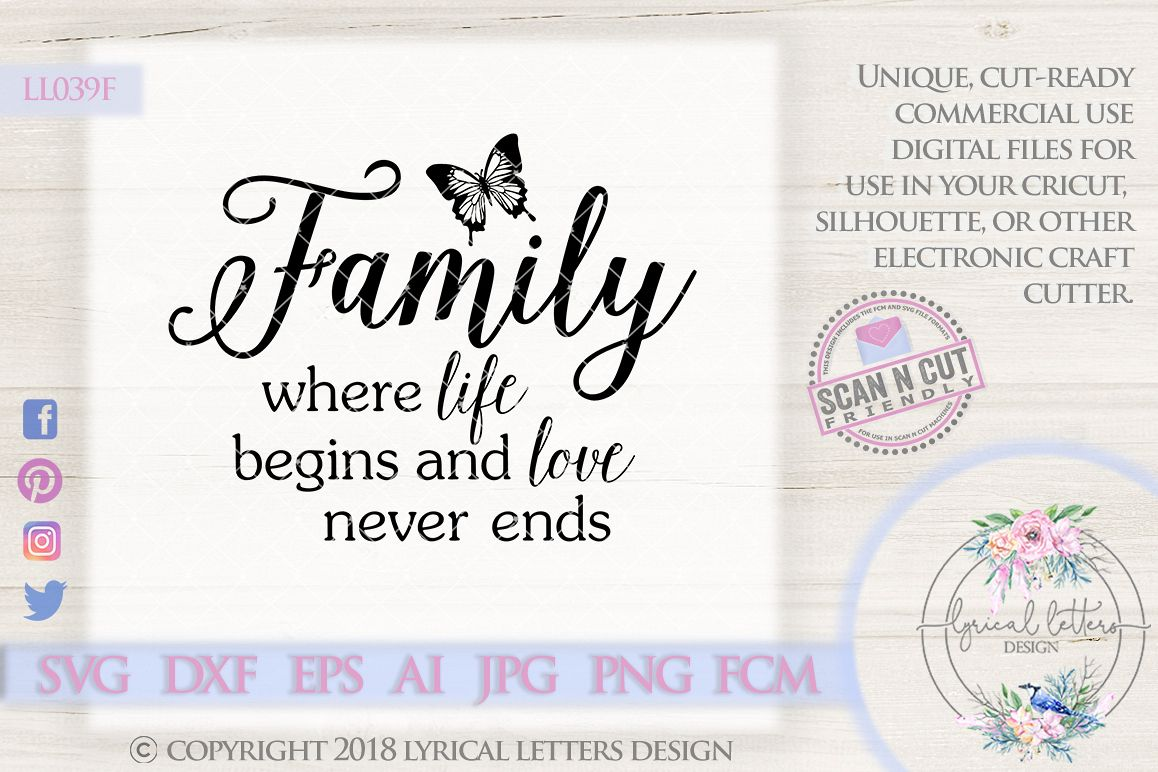 Family Where Life Begins & Love Never End SVG LL039F example image 1