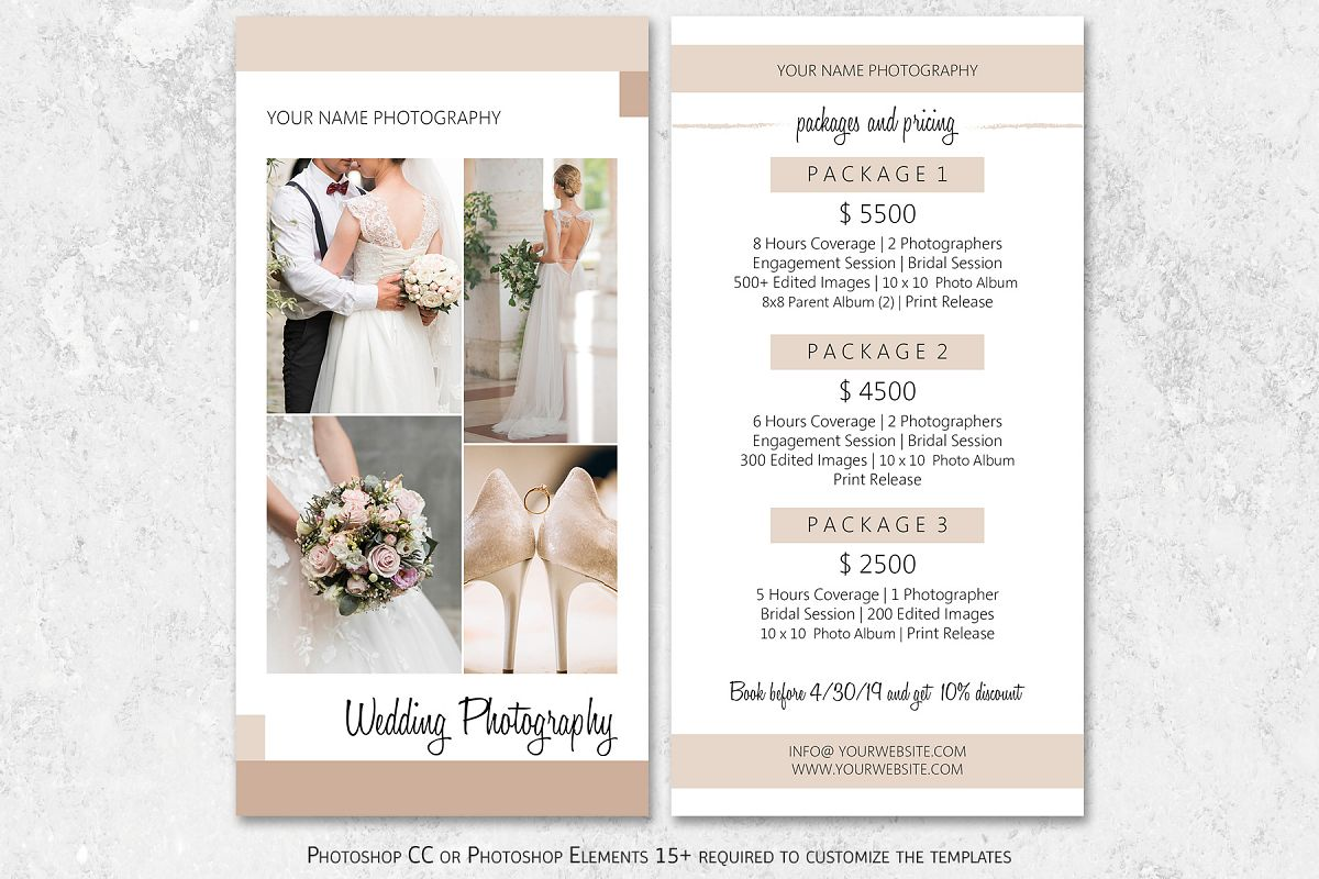 Wedding Photography Packages.Wedding Photography Rack Card Template