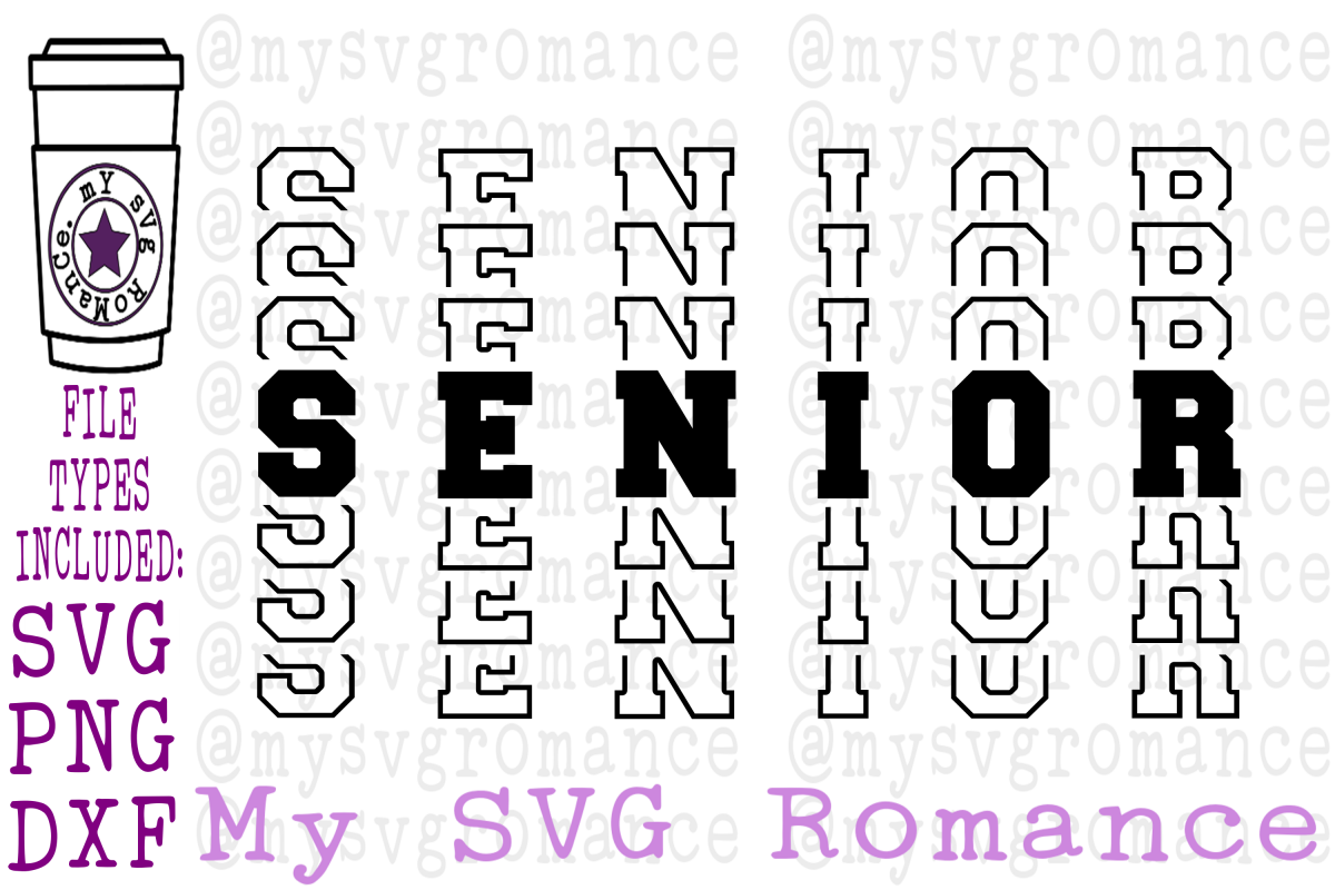 Senior - Word Mirror Graduation SVG PNG DXF College HS example image 1