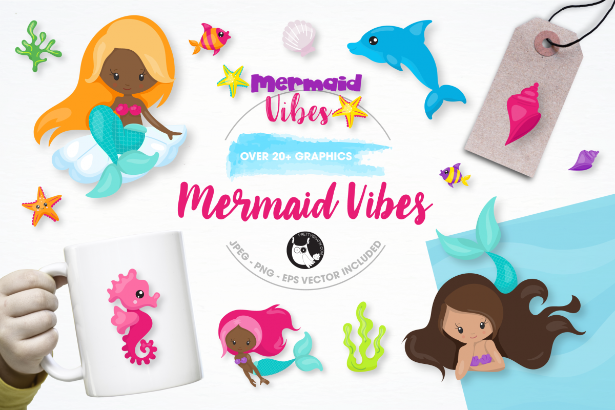 mermaid vibes graphics and illustrations example image 1