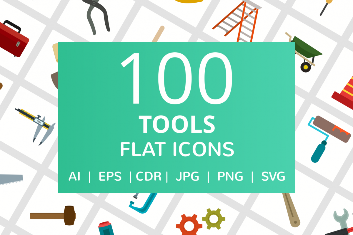 100 Tools Flat Icons example image 1