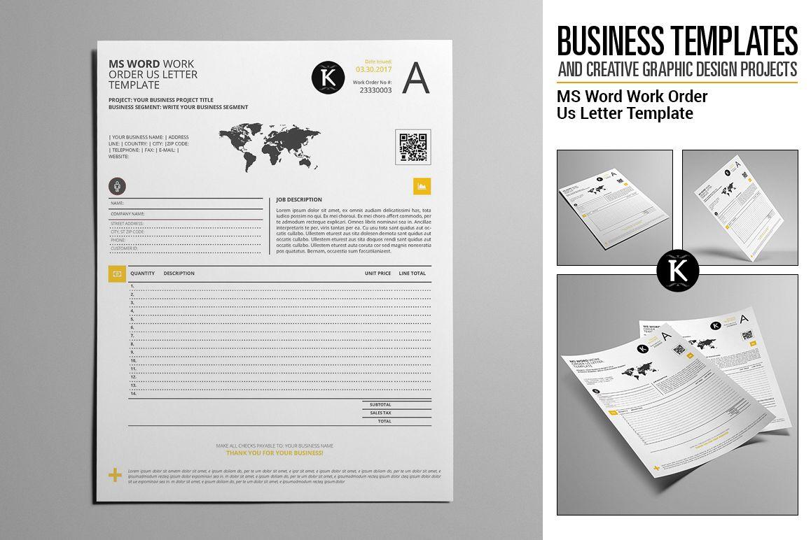 ms word work order us letter template b design bundles