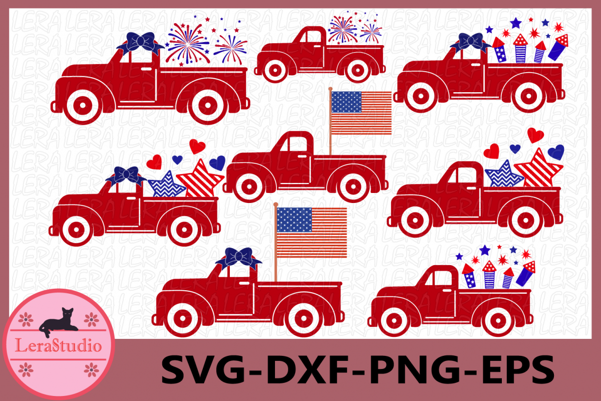 4th of July Svg, Truck Svg, Fireworks Svg, Fourth of July example image 1