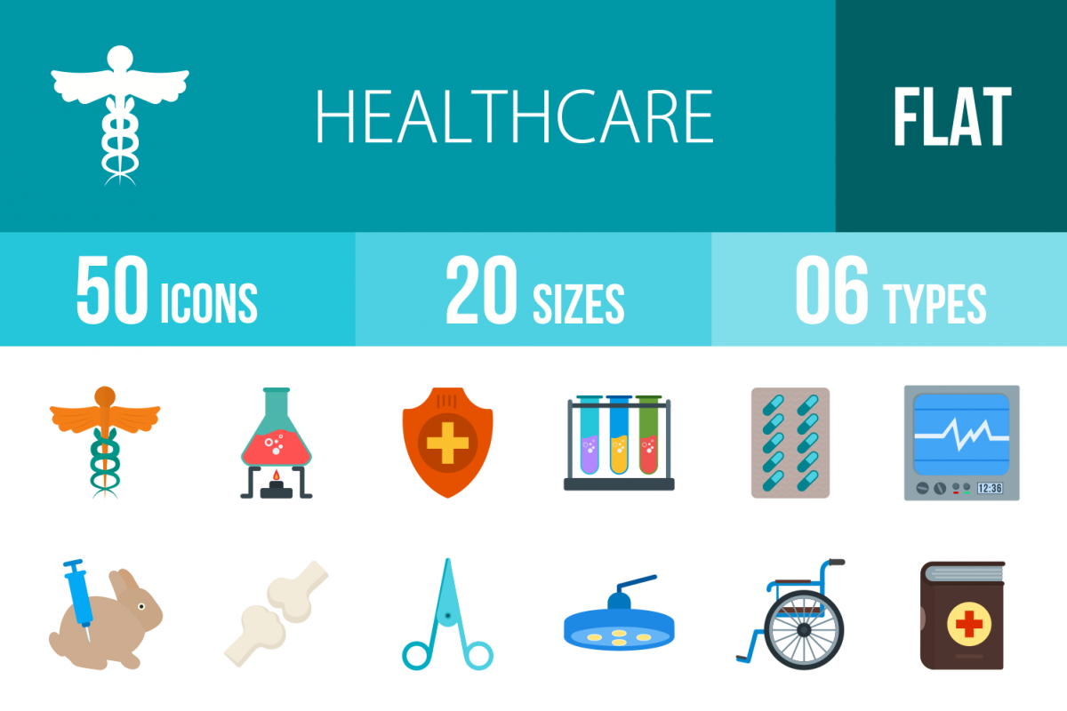 50 Healthcare Flat Multicolor Icons example image 1